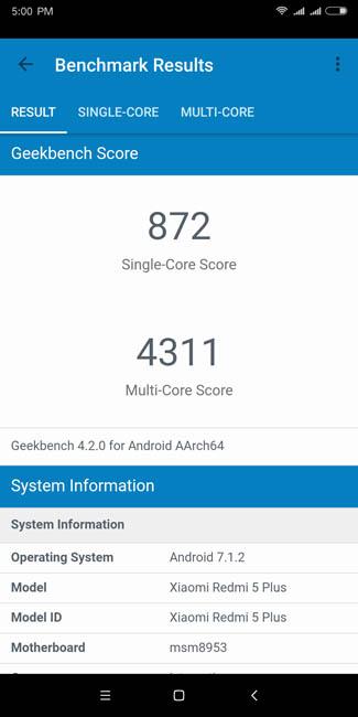 Тест производительности Xiaomi Redmi 5 Plus в Geekbench 4