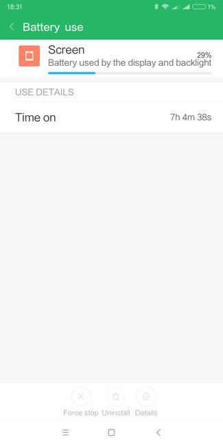 Время работы экрана Xiaomi Redmi 5 Plus на одном заряде смартфона