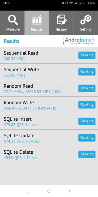 Скорость чтения памяти в Xiaomi Redmi 5 Plus