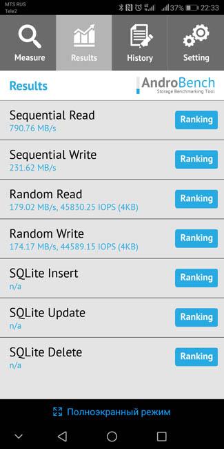 Скорость чтения памяти в Huawei Mate 10 Pro