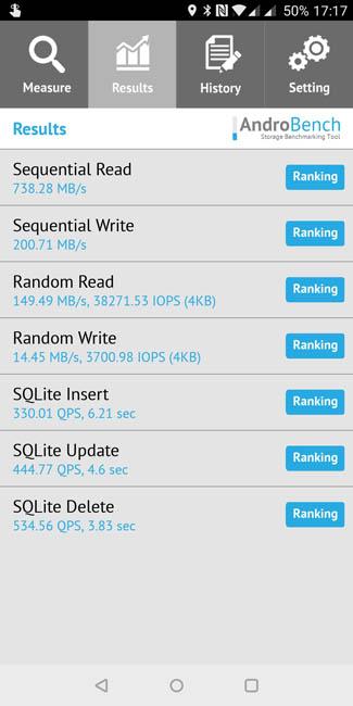 Тест скорости памяти OnePlus 5T