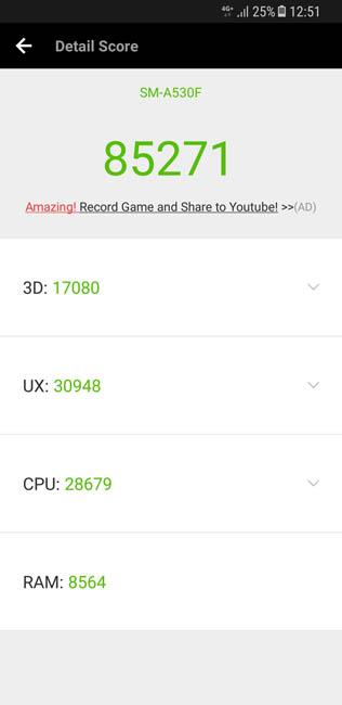 Тест производительности Samsung Galaxy A8 (2018) в AnTuTu