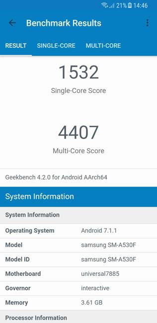 Тест производительности Samsung Galaxy A8 (2018) в Geekbench 4