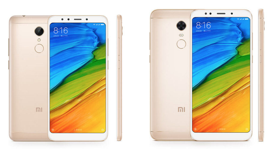 Золотые Xiaomi Redmi 5 и Xiaomi Redmi 5 Plus