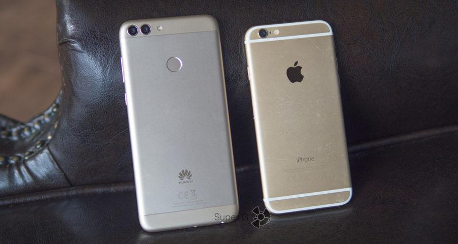 Huawei P smart (слева) и iPhone 6 (справа) в цвете Gold