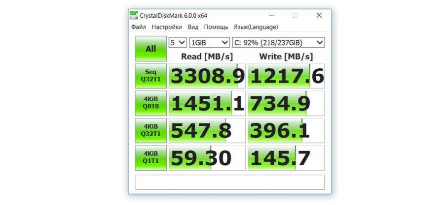 Скорость чтения записи SSD диска в Xiaomi Mi Notebook Pro