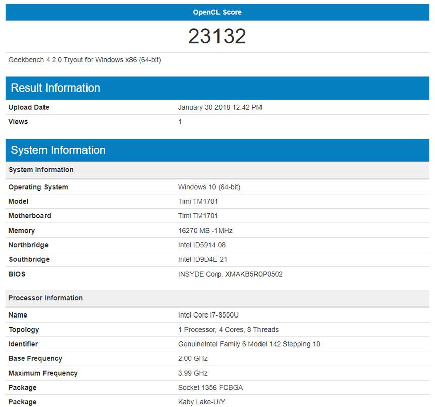 Тест производительности встроенной графики Intel 620 в Geekbench Xiaomi Mi Notebook Pro