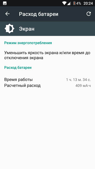 Время свечения экрана Jinga Touch 4G