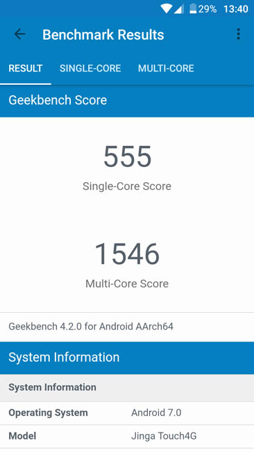 Тест производительности Jinga Touch 4G в Geekbench 4