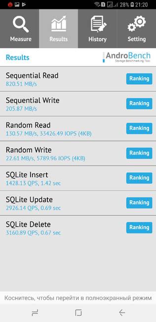 Скорость записи памяти Samsung Galaxy S9 Plus