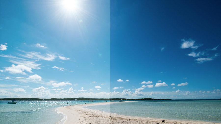 Слева обычные солнцезащитные очки, а справа Xiaomi TS Anti-UV Nylon Sunglasses