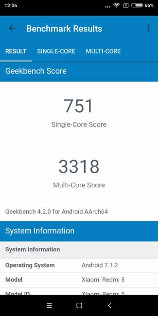 Тест производительности Xiaomi Redmi 5 в Geekbench 4