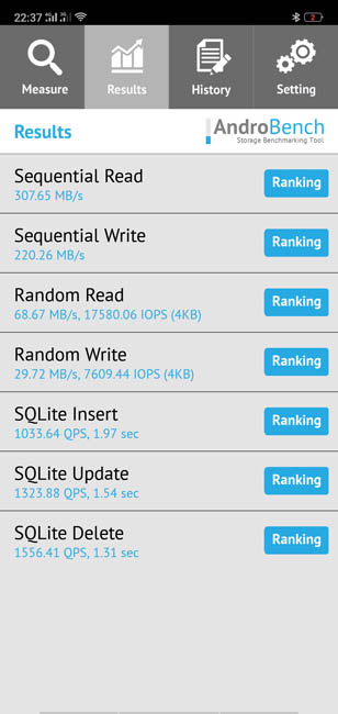 Тест скорости памяти Oppo F7