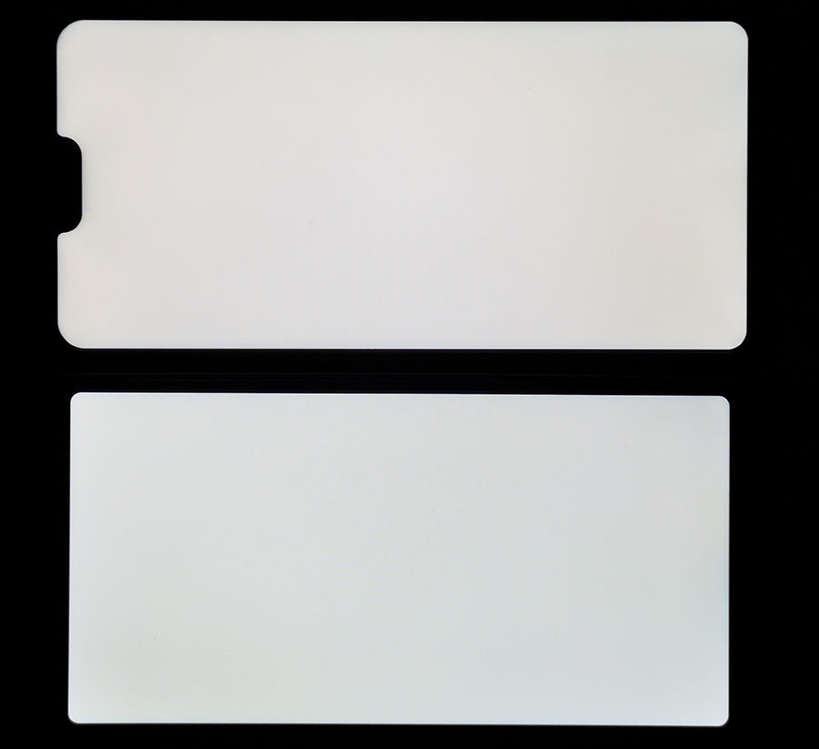Сравнение экрана Vivo V9 Youth (сверху) и Vernee X (снизу)