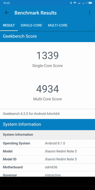 Тест производительности Xiaomi Redmi Note 5 Pro в Geekbench 4