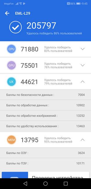 Тест производительности Huawei P20 в AnTuTu