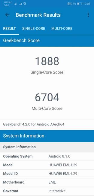 Тест производительности Huawei P20 в Geekbench 4