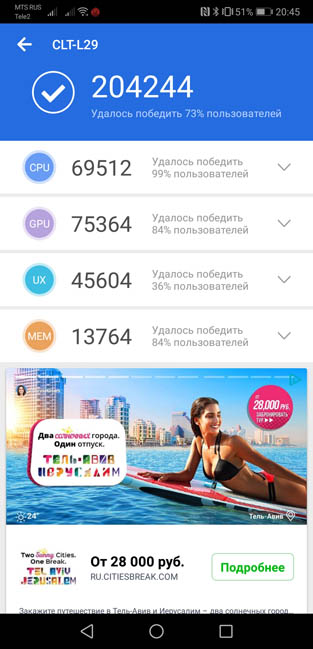 Тест AnTuTu Huawei P20 Pro
