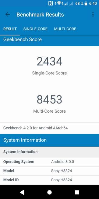 Тест производительности Sony Xperia XZ2 Compact в Geekbench 4