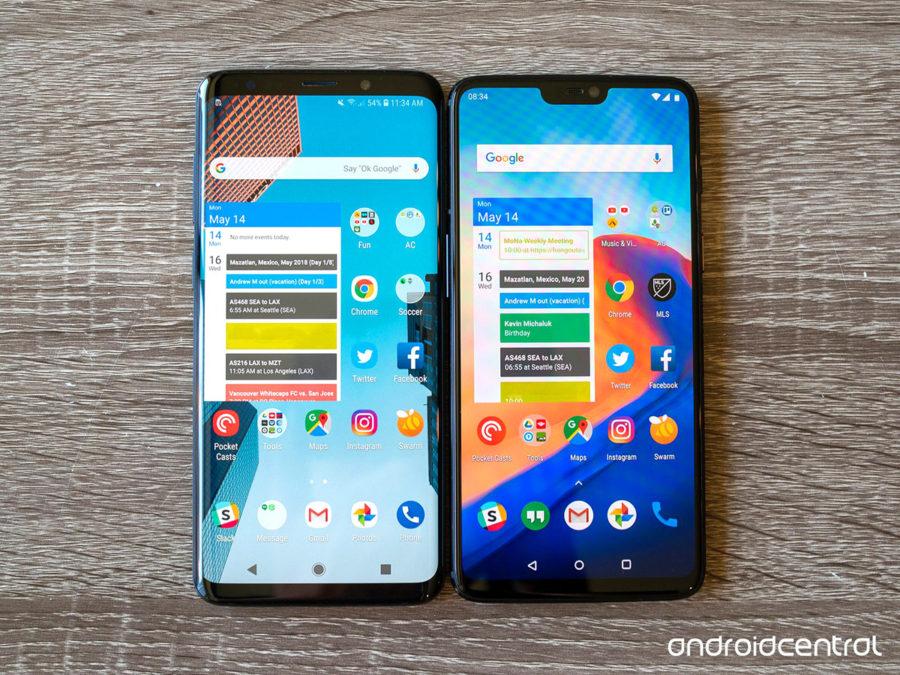 Samsung Galaxy S9+ (слева) и OnePlus 6 (справа)