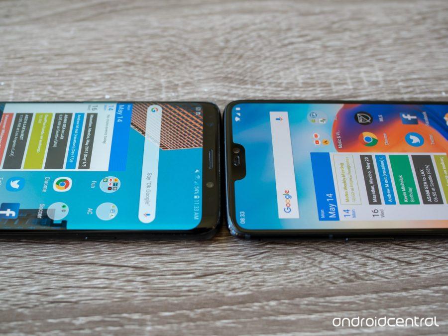 Экраны Samsung Galaxy S9+ и OnePlus 6