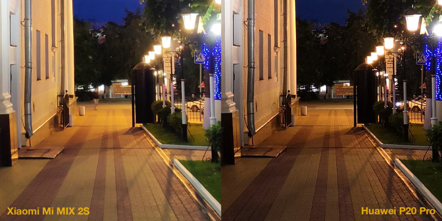 Сравнение камер Xiaomi Mi MIX 2S и Huawei P20 Pro (ночь)