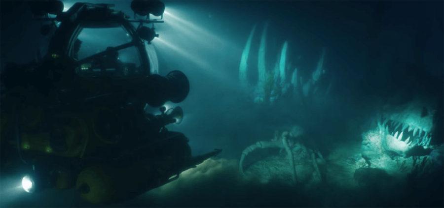 Ихтиозавр, индоминус, под водой в начале фильма Мир Юрского периода 2
