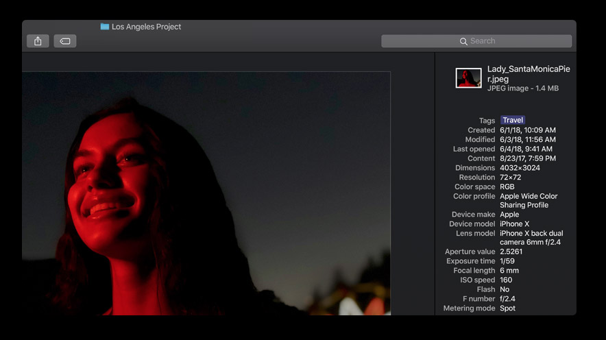 Просмотр метаданных в Gallery View in macOS Mojave