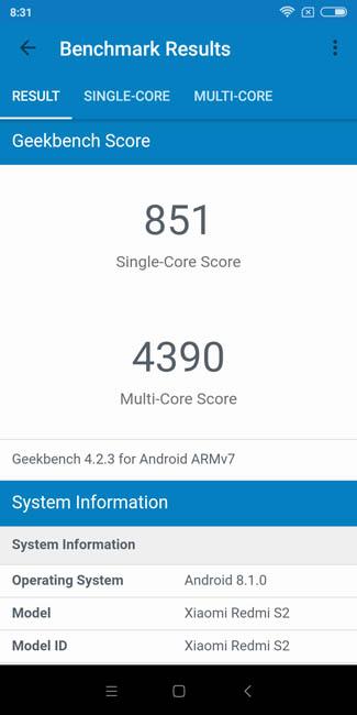 Тест производительности Xiaomi Redmi S2 в Geekbench 4