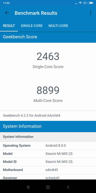 Тест производительности Xiaomi Mi MIX 2S в Geekbench 4