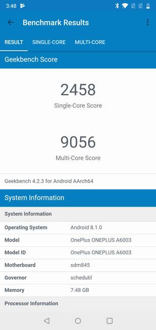 Тест производительности OnePlus 6 в Geekbench 4