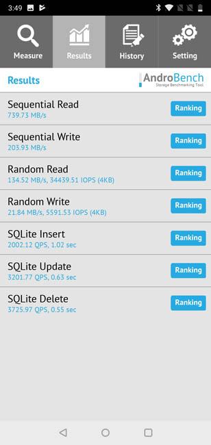 Тест на скорость чтения записи памяти OnePlus 6
