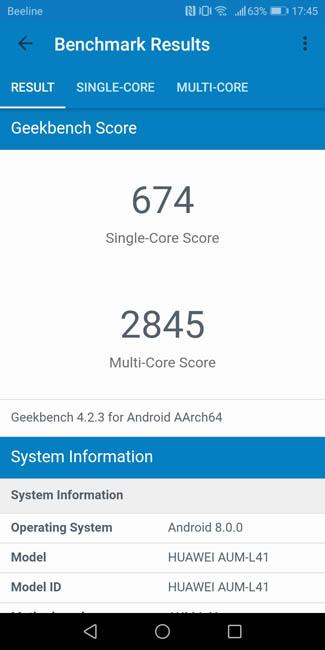 Тест производительности Honor 7C в Geekbench 4