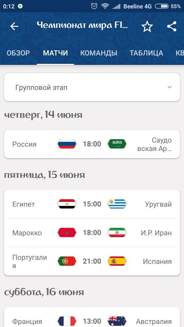 Чемпионат мира по футболу FIFA 2018 в России: результаты