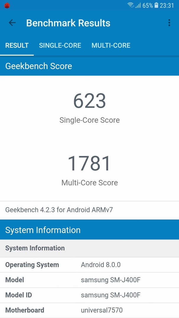 Samsung Galaxy j4 (2018) Geekbench4