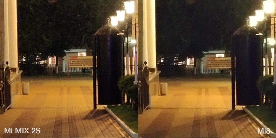 Сравнение 2x зума в камерах Xiaomi Mi8 и Xiaomi Mi MIX 2S ночью
