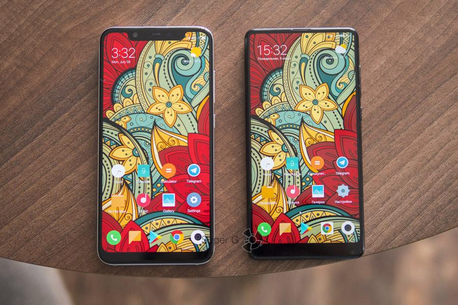 Экраны Xiaomi Mi8 (слева) и Xiaomi Mi MIX 2S (справа)
