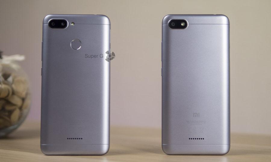 Сравнение Xiaomi Redmi 6 (слева) и Xiaomi Redmi 6A (справа)