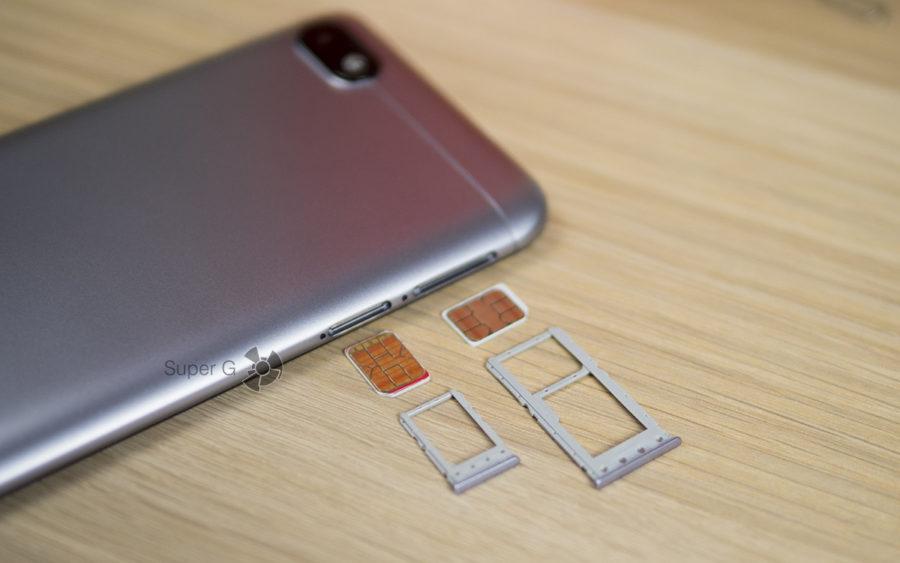 Xiaomi Redmi 6A имеет раздельные слот под карту памяти и SIM-карточки