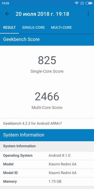Тест Xiaomi Redmi 6A в Geekbench 4