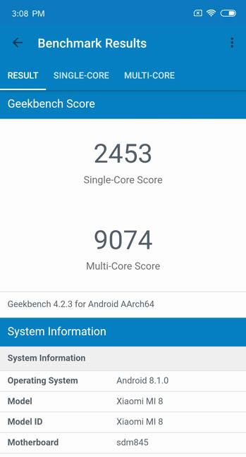 Тест Geekbench 4 Xiaomi Mi8