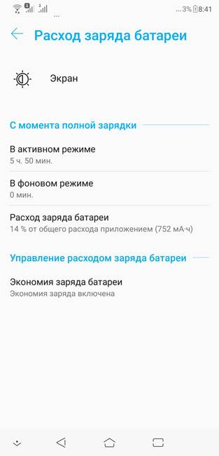 Время работы экрана Asus Zenfone 5 ZE620KL от одного заряда