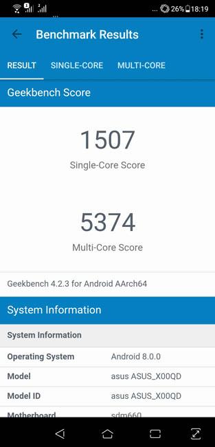 Производительность и тест Asus Zenfone 5 ZE620KL в Geekbench 4