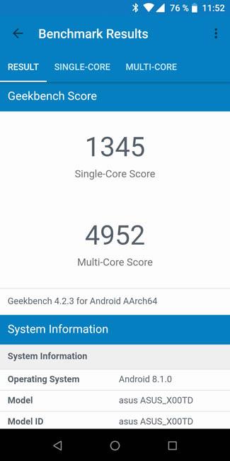 Тест производительности Asus Zenfone Max Pro (M1) в Geekbench 4