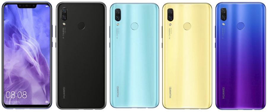 Цвета Huawei Nova 3
