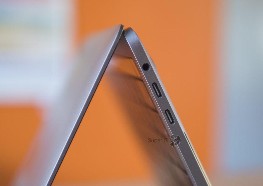 Разъёмы MacBook Pro 13 2018 - 4 порта Thunderbolt 3 и аудиовыход 3,5 мм
