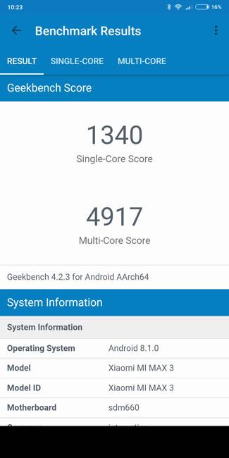 Тест Xiaomi Mi Max 3 в Geekbench 4