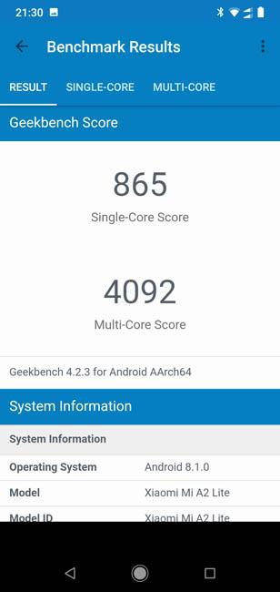 Производительность Xiaomi Mi A2 Lite в тесте Geekbench 4