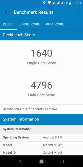 Тест производительности Xiaomi Mi A2 в Geekbench 4