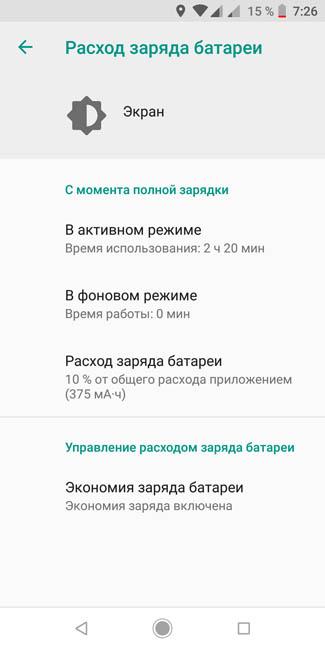 Время работы экрана Xiaomi Mi A2 на одном заряде